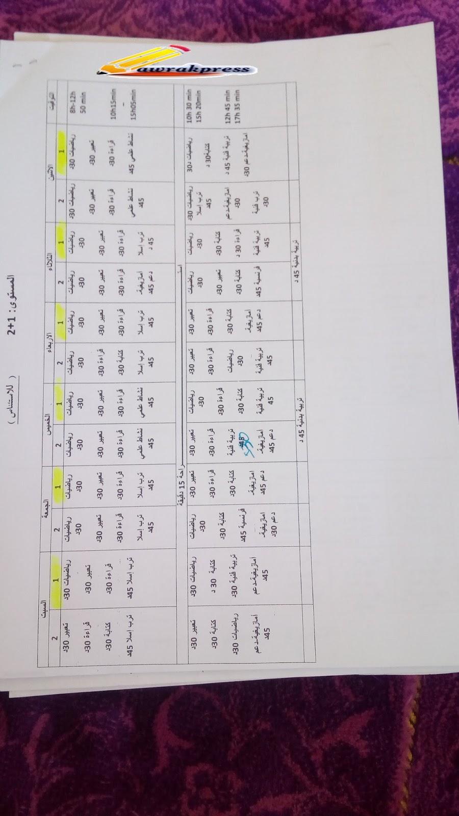 استعمال الزمن تتضمن الأمازيغية و التربية الاسلامية للمستويات التالية  : الأول و الثاني و الثالث و   الأول + الثاني