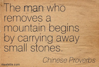 The man who moves a mountain, begins by carrying away small stones