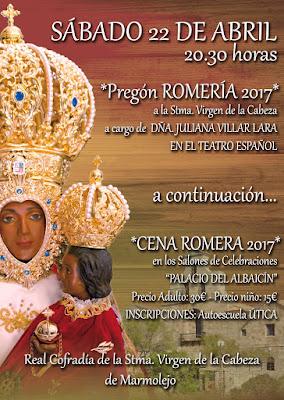 Cartel Cena y Pregón Cofradía Virgen de la Cabeza de Marmolejo