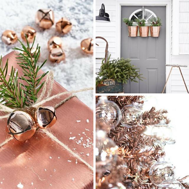 O lado Rose Gold das decorações de Natal