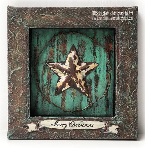 Rusty Star Canvas with PaperArtsy ESC stamps and Seth Apter PaperArtsy paints - by Nikki Acton