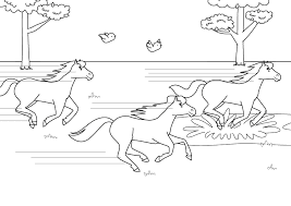 Wild Horse Running At Forest Coloring Pages