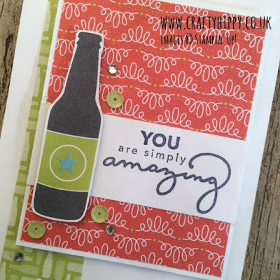 Make a greetings card using the Bubbles & Fizz Designer Series Paper from Stampin' Up!