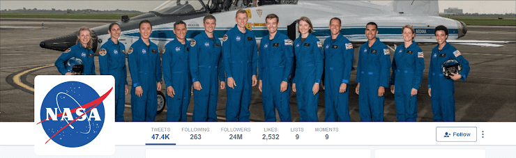 NASA Twitter profile