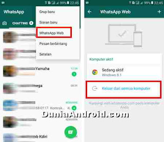 Logout WhatsApp web dari HP Android