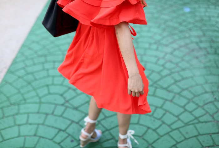 Chicwish Darling Ruffled Off shoulder Dress in Red, chanel grand shopping tote, quay my girl cateye sunglasses,Sole Society Sena Espadrille Wedge , nyc street style