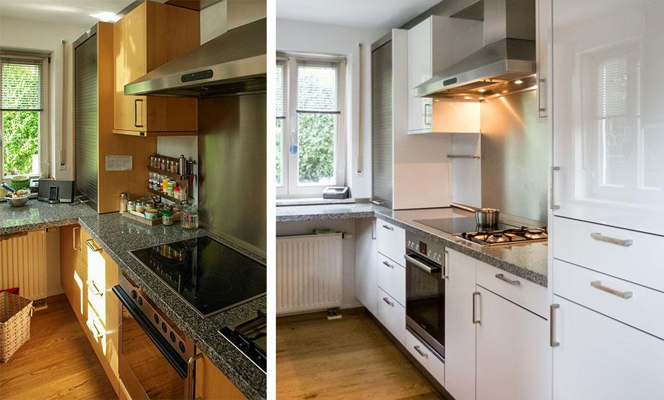 Küche renovieren, neue Fronten in Hochglanz weiss