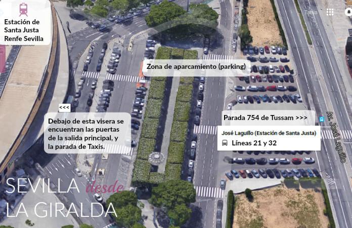 Explicación para coger en Santa Justa un bus en la calle José Laguillo para llegar al centro de Sevilla.