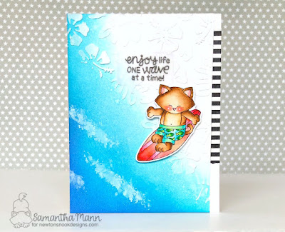 Enjoy Life One Wave at a Time Card by Samantha Mann for Newton's Nook Designs, Ocean, Just Because Card, handmade cards, summer, Distress Inks, Ink blending #newtonsnook #summer #cards #beach #inkblending #distressinks