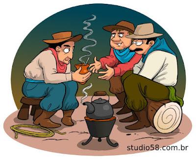 ilustração turística da roda de chimarrão