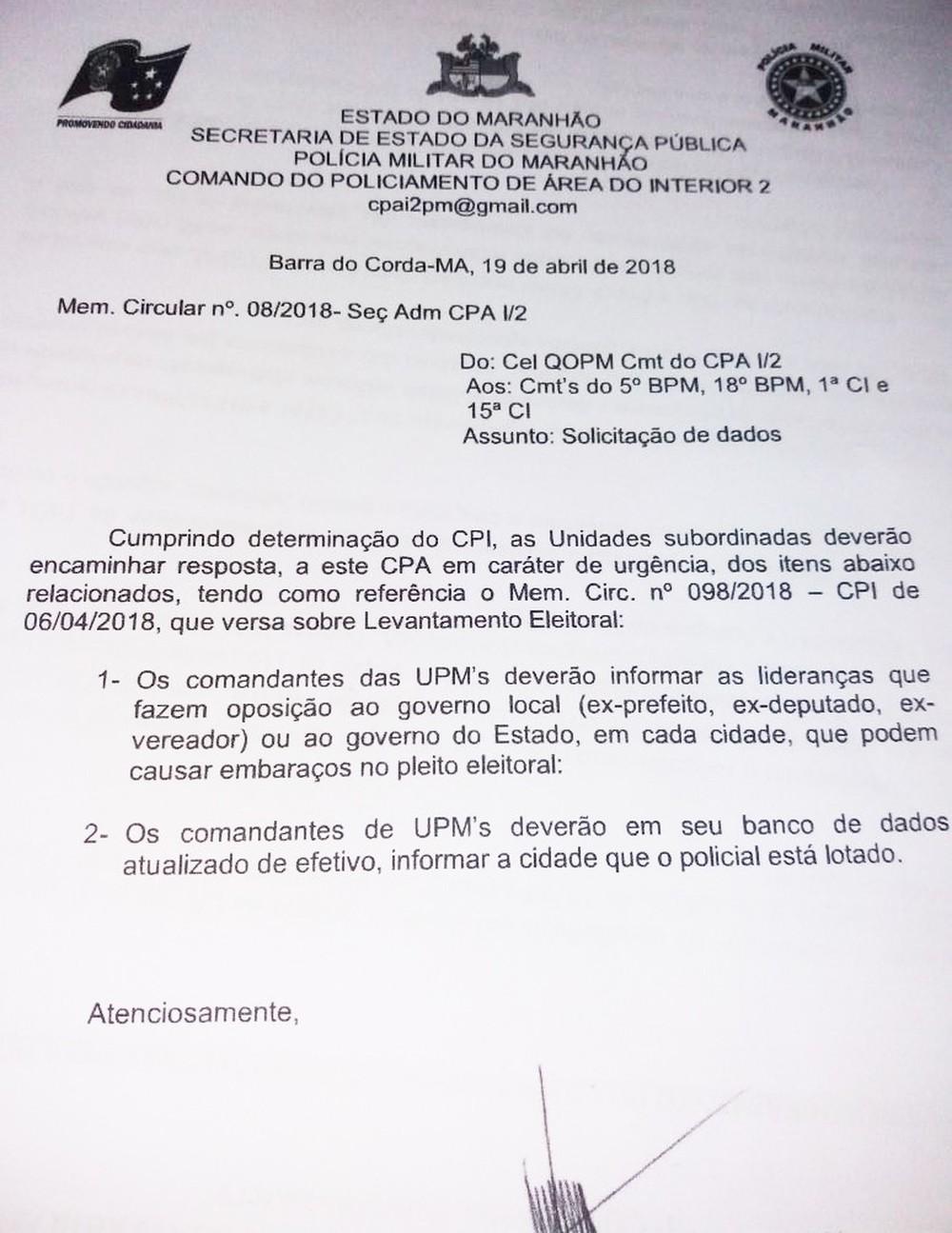 Fantástico mostra o escândalo do documento do governo que pede a espionagem de políticos do MA pela PM