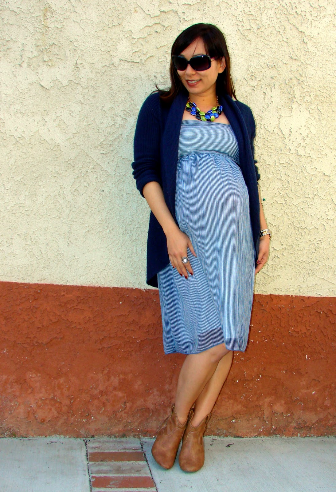 NAVY AND WHITE STRIPED DRESS - Motherhood Maternity (thrifted) 29420b2dd