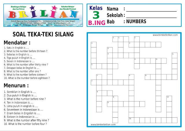 Soal Teka-Teki Silang ( TTS ) SD Bahasa Inggris Kelas 3 Bab Numbers ( Angka-Angka )