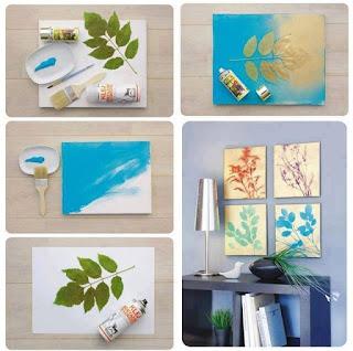 hacer cuadros y pinturas con hojas de árboles