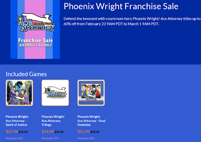 Phoenix Wright Ace Attorney Franchise Sale Nintendo eShop CAPCOM 2017 Spirit of Justice Trilogy Dual Destinies