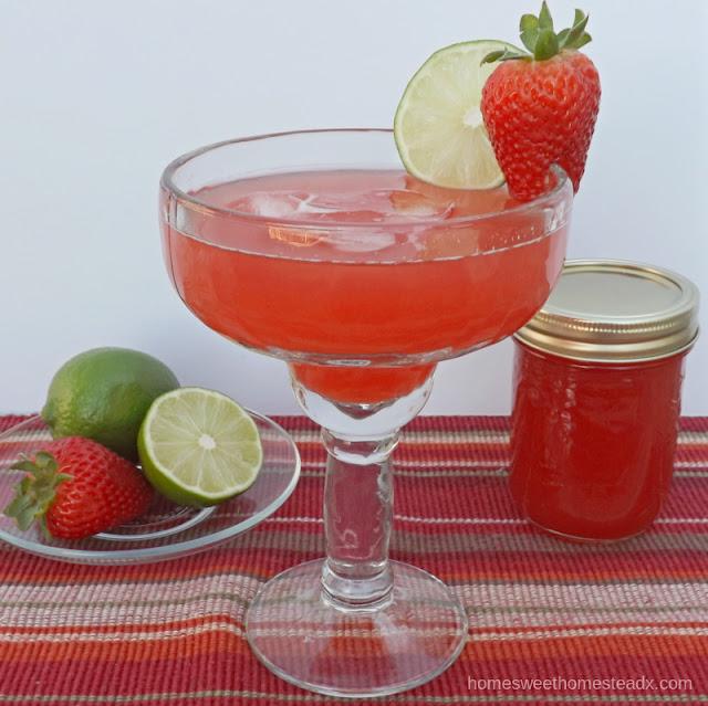 Rhubarb Strawberry Margarita - Home Sweet Homestead