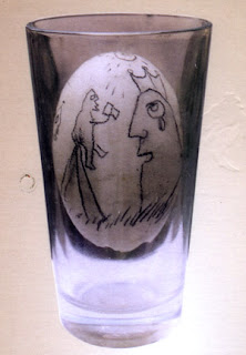 Painted egg in the glass, from Tomb of Karacoz