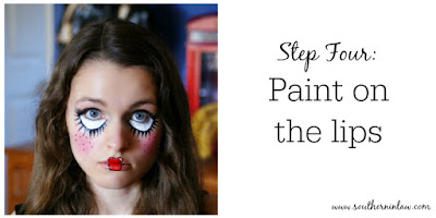 Doll Face Paint Step Four - Paint on the Lips