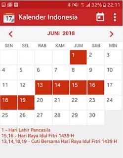 Download Aplikasi Kalender Indonesia Tahun 2018 + Hari Libur Nasional