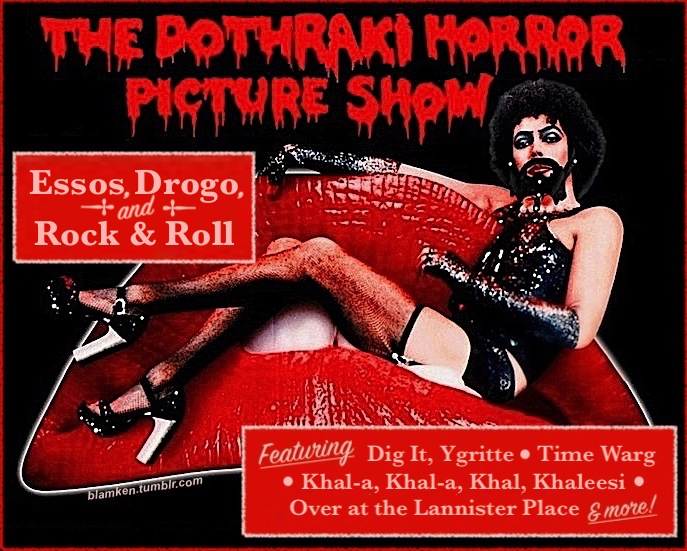Tim Curry as Frank N. Furter in 'The Rocky Horror Picture Show' with a beaded beard like Khal Drogo's in 'Game of Thrones', underneath familiar dripping red logo altered to read 'The Dothraki Horror Picture Show'
