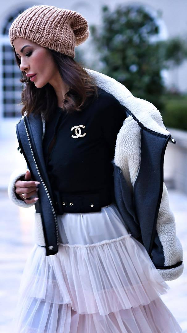 winter outfit idea / knit hat + jacket + top + skirt