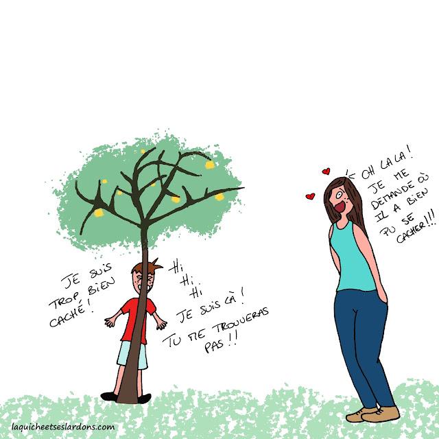dessin illustration humour bd maman enfant fils arbre cache cache