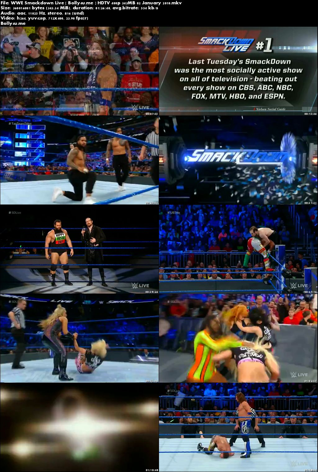 WWE Smackdown Live HDTV 480p 350MB 02 January 2018