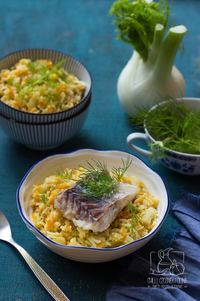 Pilaw z koprem włoskim i filetem z białej ryby / Chilli, Czosnek i Oliwa