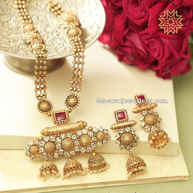 Three Jhumka Pendant with Diamonds