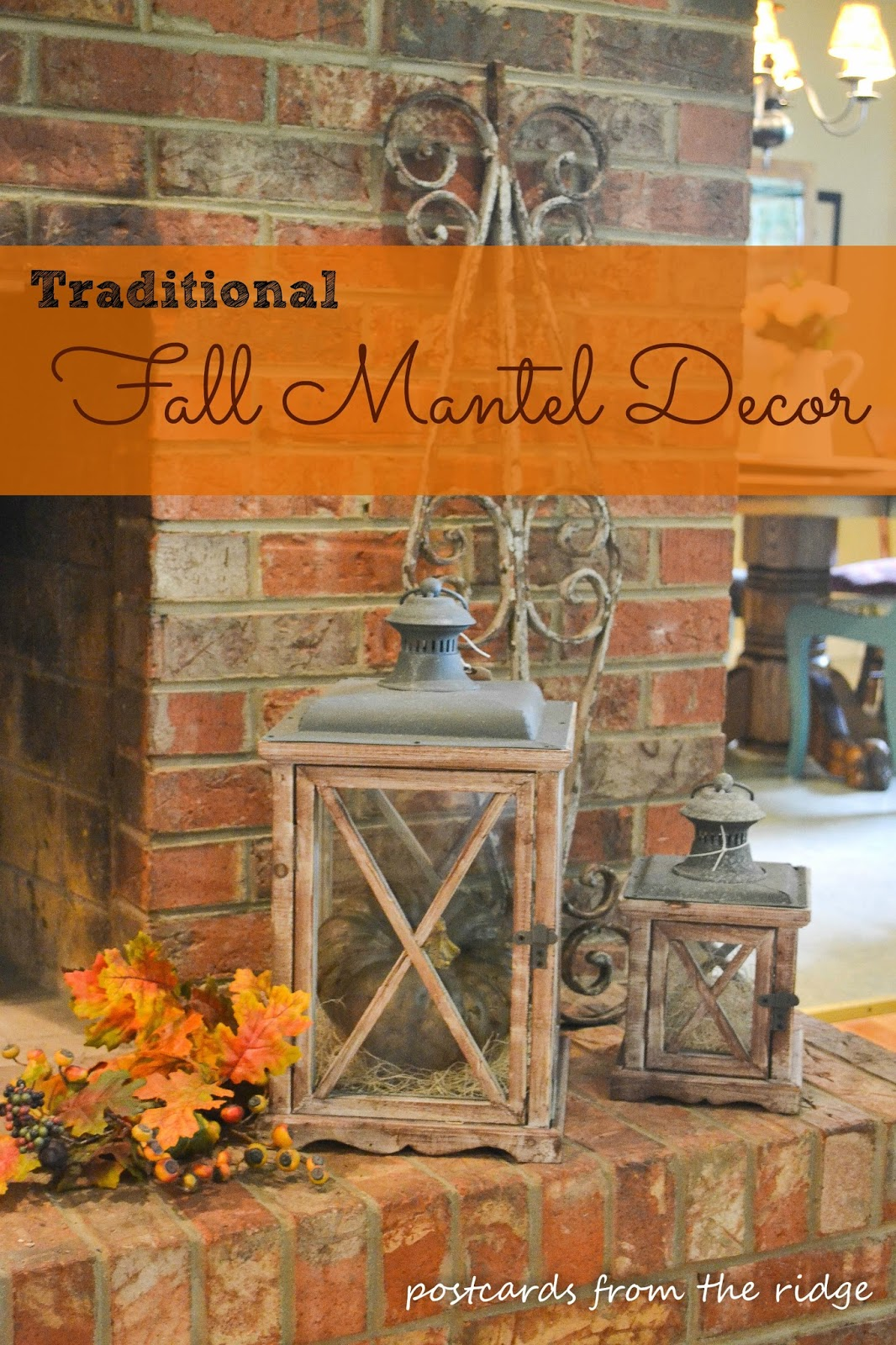 10 Large Living Room Ideas To Fall In Love With: Fall Mantel Decor ~ Traditional Version