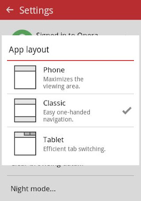 Opera Mini App Layout Settings