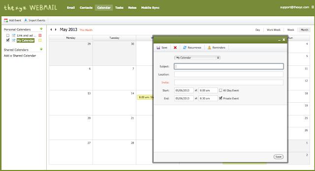 Thexyz Calendar Webmail