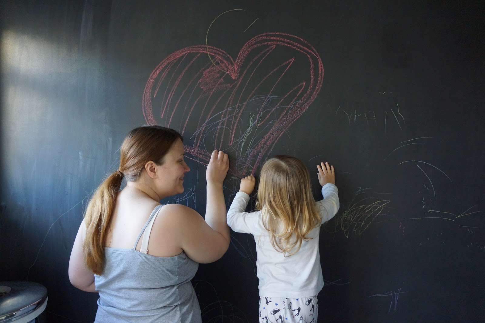 mummy and daughter drawing a heart on a blackboard