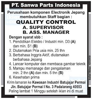 Lowongan Kerja PT. Sanwa Part Indonesia