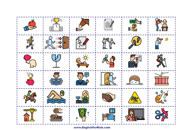 Printable picture cards for Irregular verbs game