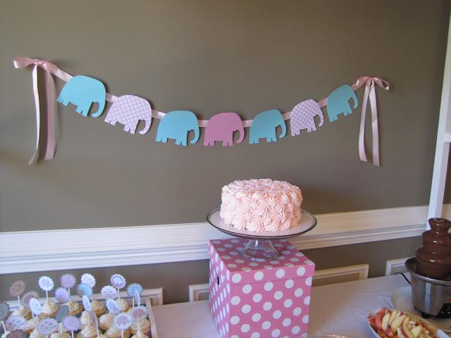 pink and aqua elephant banner