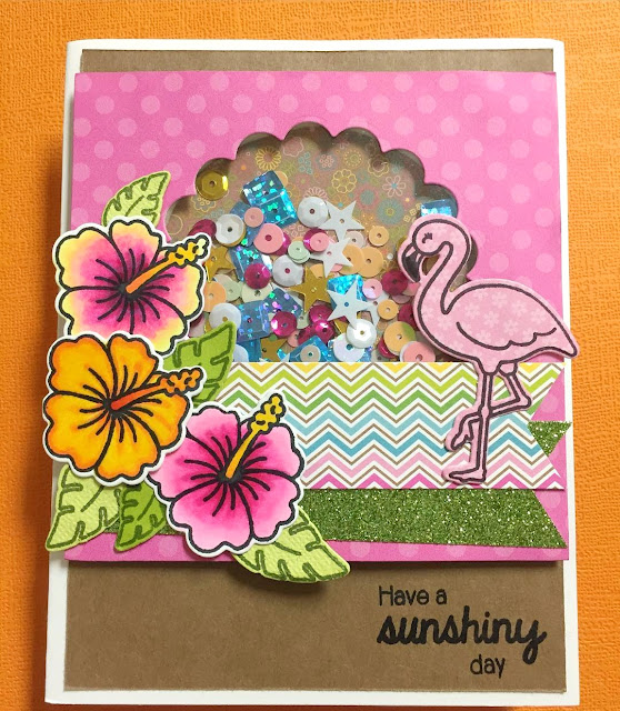Sunny Studio Stamps: Tropical Paradise Flamingo & Hibiscus Flowers Card by Jessica Griswold