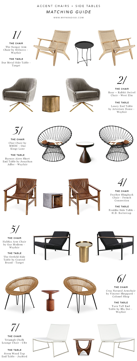 Accent chairs and side tables matching guide | My Paradissi