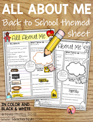 Back to School Themed All About Me Writing Sheet