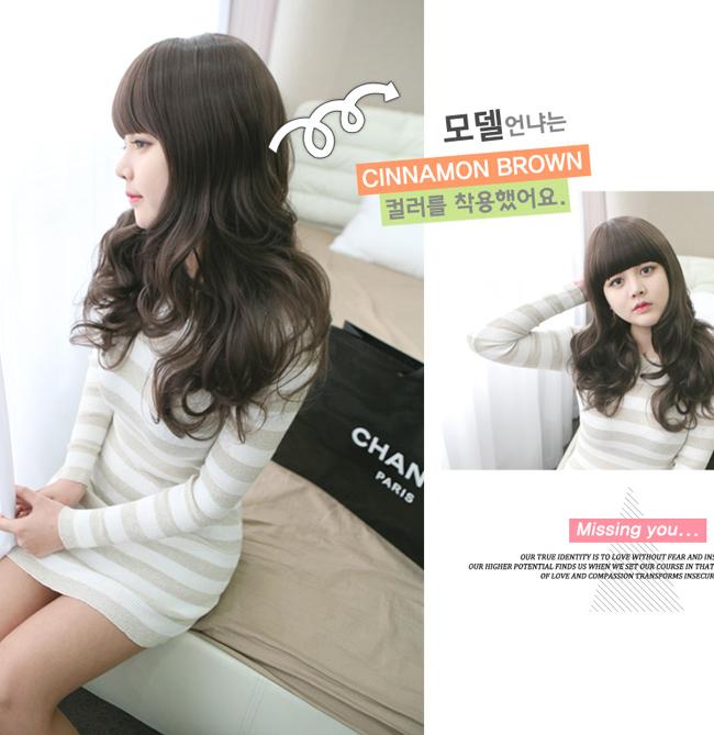 Korean Fashion Beauty Wig - Loving You Color Chocolate Brown Model 3