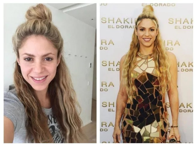 24 Pictures Of Famous Women With And Without Makeup - Shakira