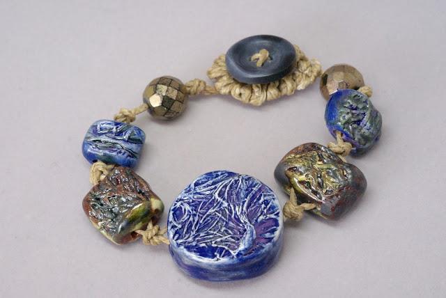 handmade blue ceramic bracelet