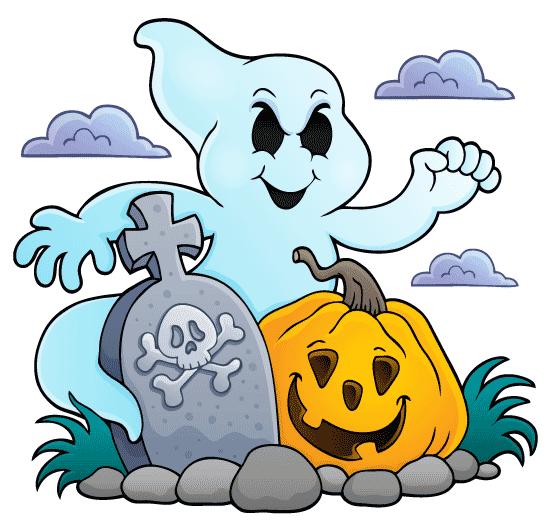 Un fantasma cartoon de ojos negros se enrosca en una lápida con una calavera con dos tibias cruzadas, al pié de la tumba hay una calabaza siniestra la escena es un poco vintage