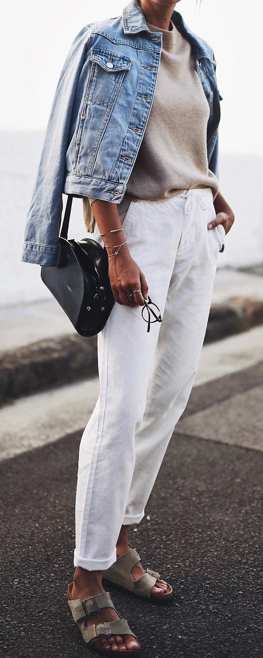 neutral shades spring outfit: denim on denim