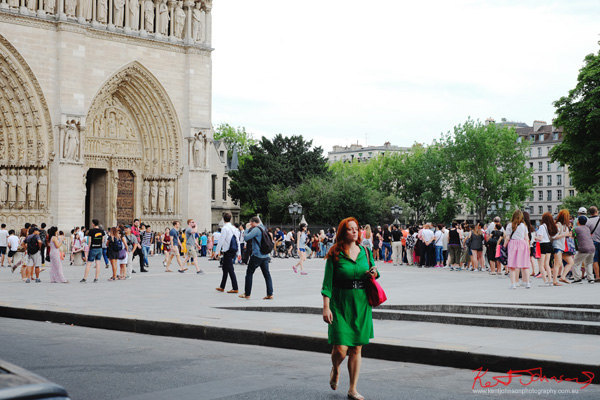 The queue for Notre-Dame, the Parvis Notre-Dame - Pl. Jean-Paul III. f you're going to the Cité.. Shots from Paris on June 26 2017 for Street Fashion Sydney.