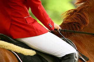 horse rider wearing white jodhpurs and a red show jacket riding a chestnut horse.