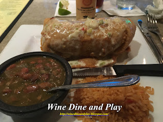 The El Rey Chimichanga at Nuevo Cantina in St. Petersburg, Florida with picadillo beef and chorizo