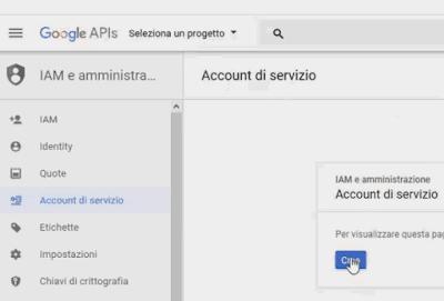 Creare account di servizio Google Fusion Tables