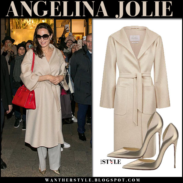 Angelina Jolie in beige wrap coat max mara lilia with red bag and gold metallic pumps christian louboutin iriza celebrity fashion january 29