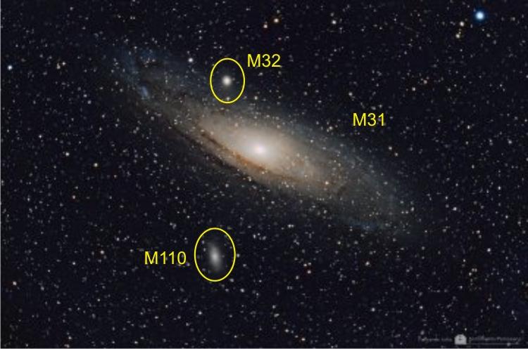 La galaxia Andrómeda con sus respectivos satélites.